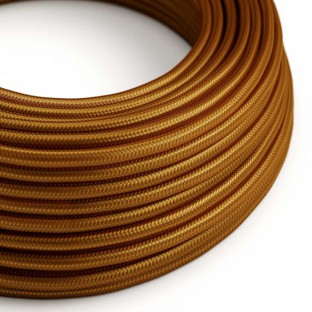 Round Electric Cable covered by Rayon solid colour fabric RM22 Whiskey