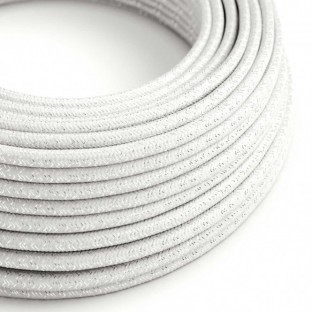 Round Glitter Electric Cable covered by Rayon solid colour fabric RL01 White