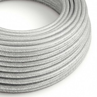 Round Glitter Electric Cable covered by Rayon solid colour fabric RL02 Silver