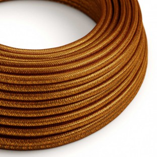 Round Glitter Electric Cable covered by Rayon solid colour fabric RL22 Copper