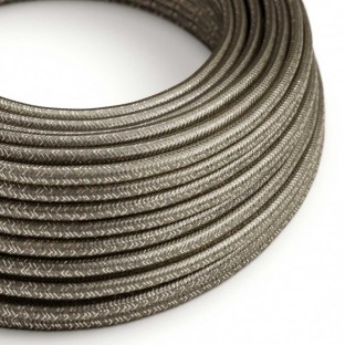 Round Glitter Electric Cable covered by Rayon solid colour fabric RL03 Grey