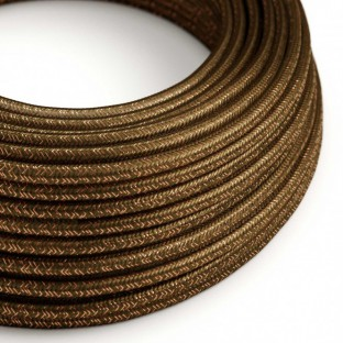 Round Glitter Electric Cable covered by Rayon solid colour fabric RL13 Brown