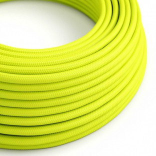 Round Electric Cable covered by Rayon solid colour fabric RF10 Fluo Yellow