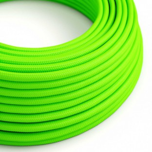 Round Electric Cable covered by Rayon solid colour fabric RF06 Fluo Green