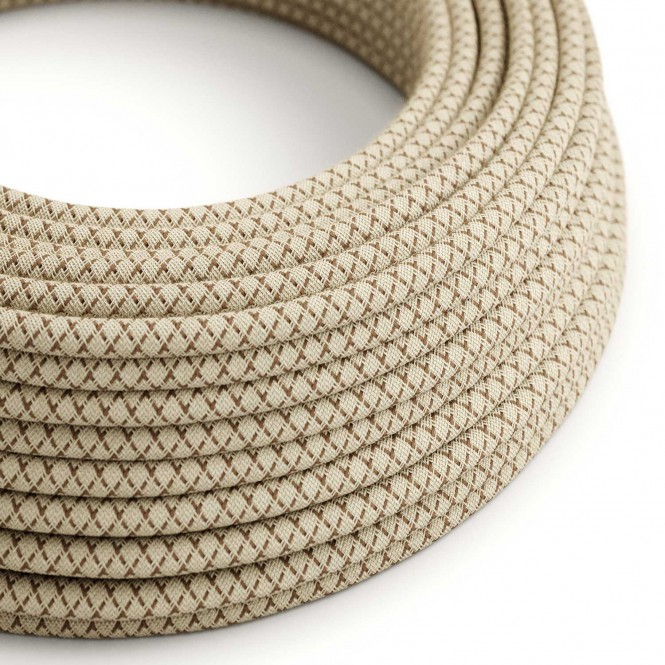 Round Electric Cable covered by Coloured Bark Lozanga Cotton and Natural Linen RD63