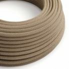 Round Electric Cable covered by Coloured Bark ZigZag Cotton and Natural Linen RD73
