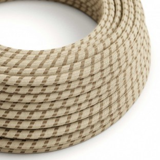 Round Electric Cable covered by Coloured Bark Stripes Cotton and Natural Linen RD53