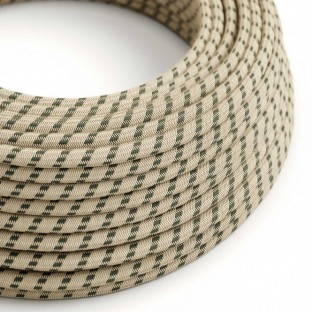 Round Electric Cable covered by Anthracite Stripes Cotton and Natural Linen RD54