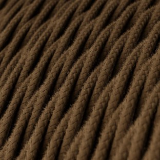 Twisted Electric Cable covered by Cotton solid colour fabric TC13 Brown