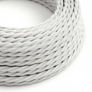 Twisted Electric Cable covered by Cotton solid colour fabric TC01 White