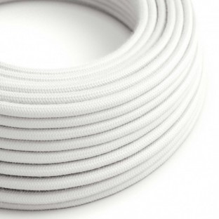 Round Electric Cable covered by Cotton solid colour fabric RC01 White