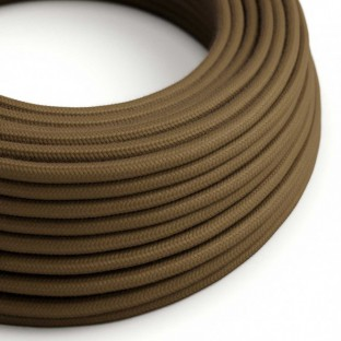 Round Electric Cable covered by Cotton solid colour fabric RC13 Brown