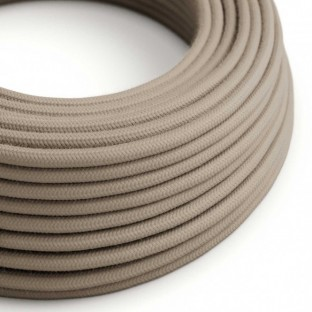 Round Electric Cable covered by Cotton solid colour fabric RC43 Dove