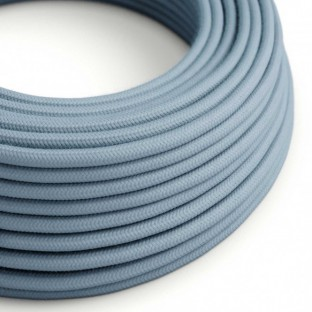 Round Electric Cable covered by Cotton solid colour fabric RC53 Ocean