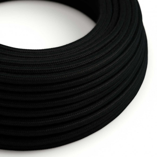 Round Electric Cable covered by Cotton solid colour fabric RC04 Black
