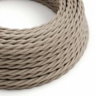 Twisted Electric Cable covered by Cotton solid colour fabric TC43 Dove