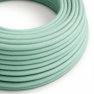 Round Electric Cable covered by cotton solid colour fabric RC34 Milk and Mint