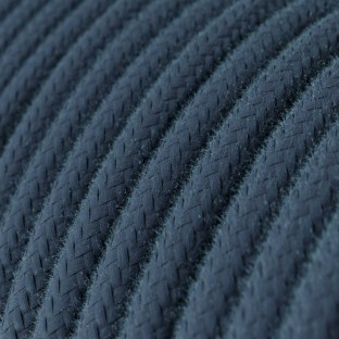 Round Electric Cable covered by Cotton solid colour fabric RC30 Stone Gray