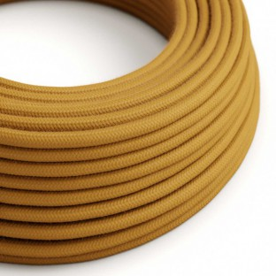 Round Electric Cable covered by Cotton solid colour fabric RC31 Golden Honey