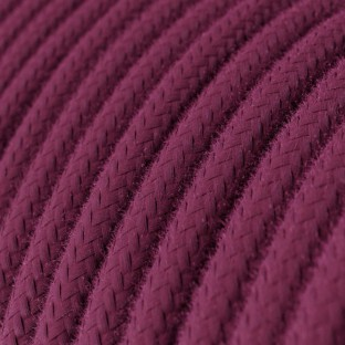 Round Electric Cable covered by Cotton solid colour fabric RC32 Burgundy