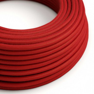 Round Electric Cable covered by Cotton solid colour fabric RC35 Fire Red