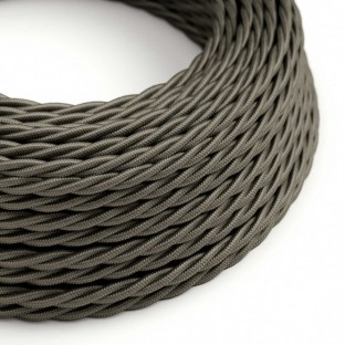 Twisted Electric Cable covered by Rayon solid colour fabric TM26 Dark Gray