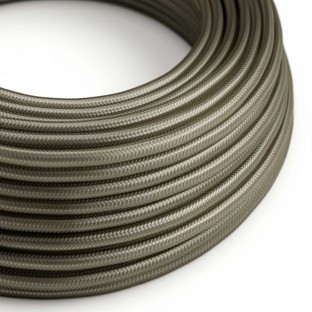 Round Electric Cable covered by Rayon solid colour fabric RM26 Dark Grey