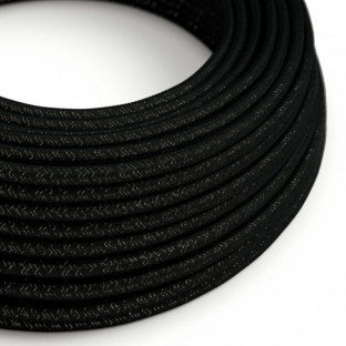 Round Glittering Electric Cable covered by Rayon solid color fabric RL04 Black