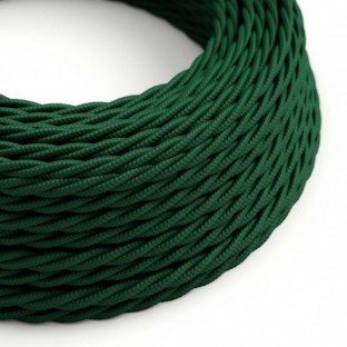 Twisted Electric Cable covered by Rayon solid color fabric TM21 Dark Green