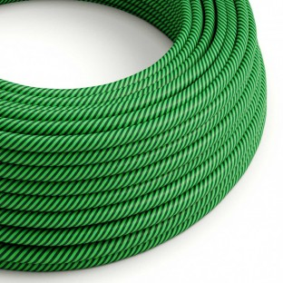 Round Electric Vertigo HD Cable covered by Kiwi and Dark Green fabric ERM48