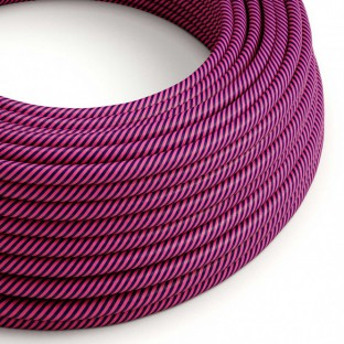 Round Electric Vertigo HD Cable covered by Fuchsia and Dark Purple fabric ERM50