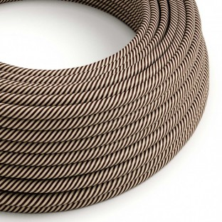 Round Electric Vertigo HD Cable covered by Sand and Dark Brown fabric ERM51