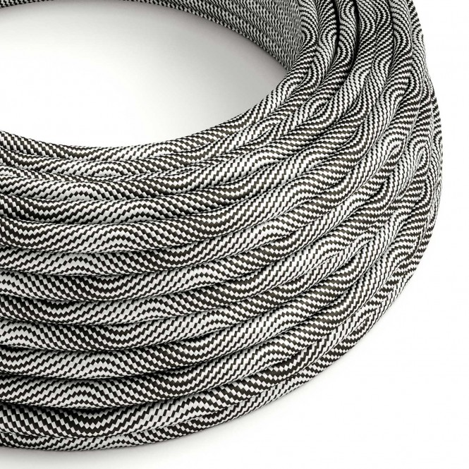 Round Electric Vertigo HD Cable covered by Optical Black and Silver fabric ERM64