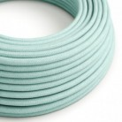 Round Electric Cable covered by Cotton solid color fabric RC18 Celadon Green