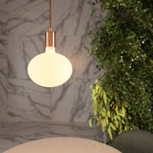 Pendant lamp with fabric cable and contrasting metal details - Made in Italy