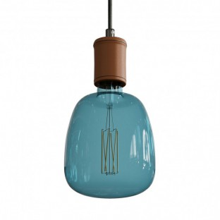 Pendant lamp with fabric cable and leather details - Made in Italy