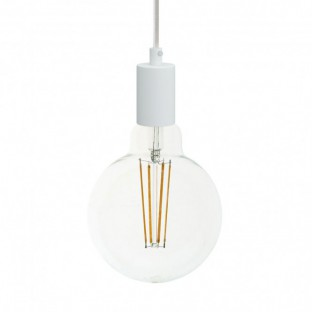 Pendant lamp with fabric cable and monochrome metal details - Made in Italy
