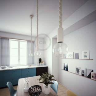 Pendant lamp with 3XL 30mm nautical cord painted wood details - Made in Italy