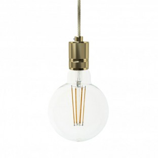 Pendant with fabric cable and milled aluminium lampholder - Made in Italy