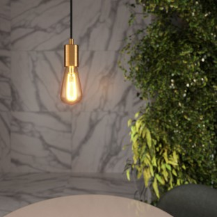 Pendant lamp with fabric cable and brushed metal details - Made in Italy