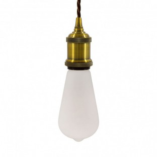 Pendant with twisted fabric cable and aluminium lamp holder - Made in Italy