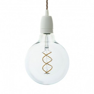 Pendant lamp with twisted fabric cable and white porcelain details - Made in Italy