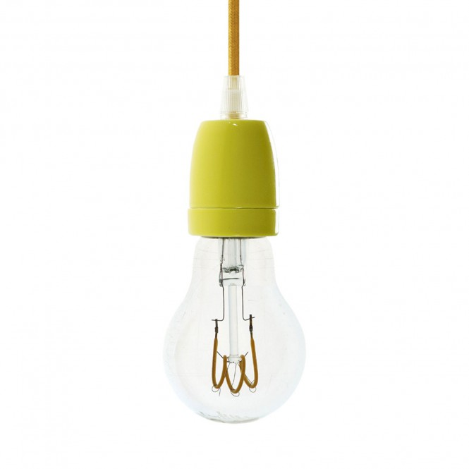 Pendant lamp with fabric cable and coloured porcelain details - Made in Italy