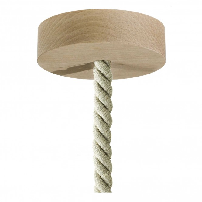 Pendant lamp with XL nautical cord and wooden details - Made in Italy