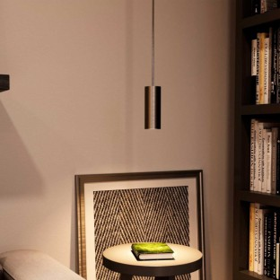 Pendant lamp with fabric cable, Tub-E14 lampshade and metal details - Made in Italy