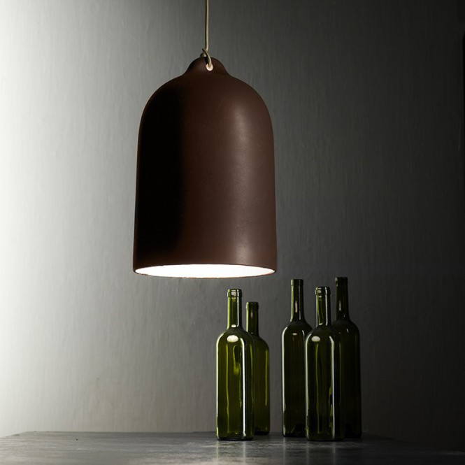 Pendant lamp with fabric cable and Bell XL ceramic lampshade - Made in Italy