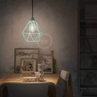Pendant lamp with fabric cable, Diamond cage lampshade and metal details - Made in Italy