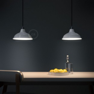 Pendant lamp with fabric cable, Bistrot lampshade and metal details - Made in Italy