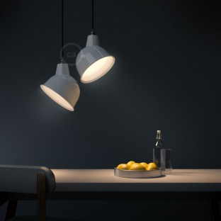 Pendant lamp with fabric cable, Broadway lampshade and metal details - Made in Italy
