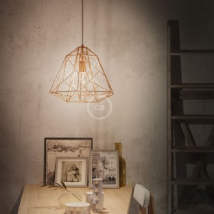 Pendant lamp with fabric cable, Apollo lampshade and metal details - Made in Italy
